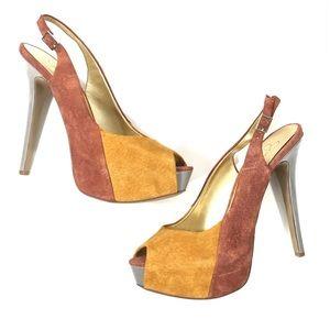 Jessica Simpson Suede Peep Toe Platform Heels 10B